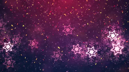 golden ribbon : New Year winter confetti celebration background Stock Footage