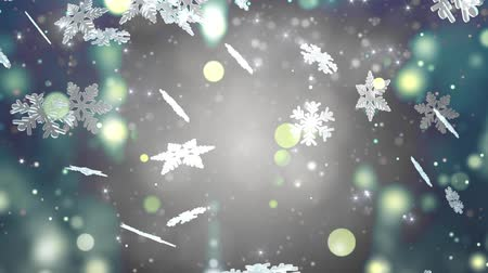 queda de neve : Winter background with silver snowflakes Vídeos