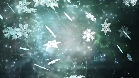 seasonal : Winter background with silver snowflakes Stock Footage