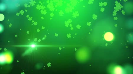 lucky charm : St. Patrick green lucky clover background Stock Footage