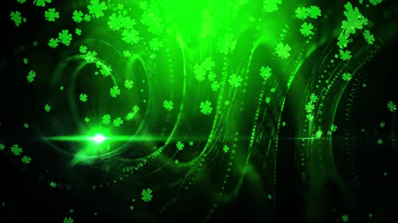 şanslı : St. Patrick green lucky clover background Stok Video
