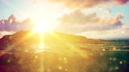 sun beam : Summer background with sun rays and waves