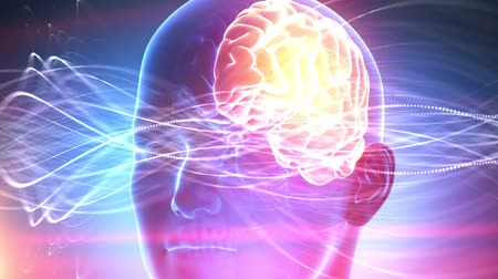 intelecto : Human brain medical cyber background Vídeos