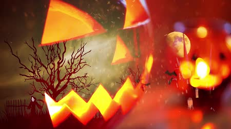 墓石 : Spooky pumpkin haunted Halloween background