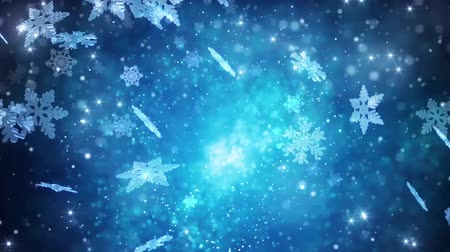 Winter holidays snowflakes falling background