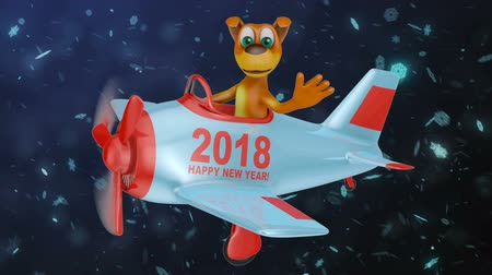 Christmas waves in the plane with the inscription Happy New Year 2018. 3D render.