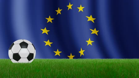 Ball on the grass on the background of the EU flag. 3d rendering.