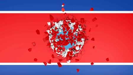 The wall with a picture of the flag of North Korea, which is broken into pieces. 3d rendering.