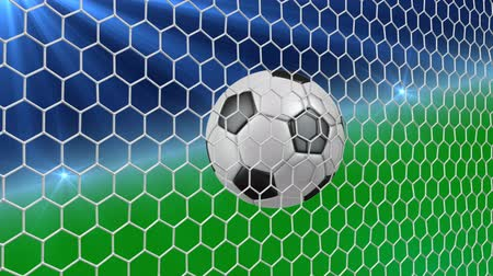 A soccer ball falls into the net of a gate on a green background. 3d rendering.