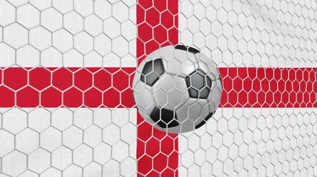 Ball in the net Soccer gate on the background of the England flag. 3d rendering.