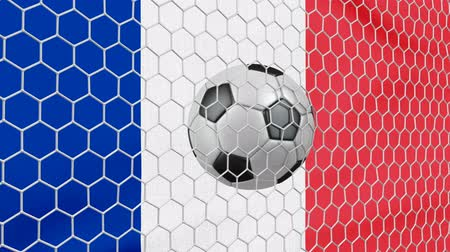 Ball in the net Soccer gate on the background of the France flag. 3d rendering.