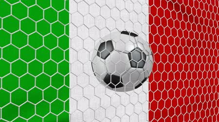 Ball in the net Soccer gate on the background of the Italy flag. 3d rendering.