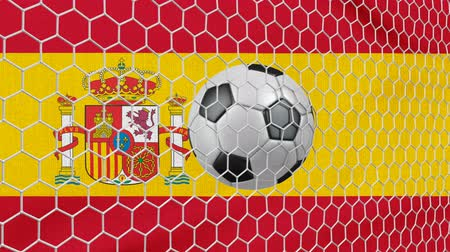 Ball in the net Soccer gate on the background of the Spain flag. 3d rendering.