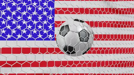 Ball in the net Soccer gate on the background of the USA flag. 3d rendering.