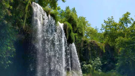 View of the waterfall Upper Duden in the city of Antalya. Stock Footage
