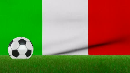 Ball on the grass on the background of the italy flag. 3d rendering.