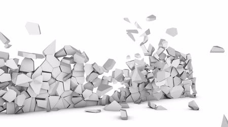 Destruction of a wall on a white background. 3d render.