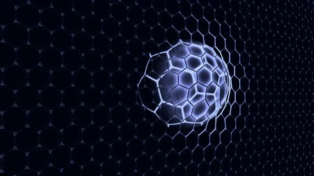 Ball in the net Soccer gate on the deep blue background. 3d rendering.