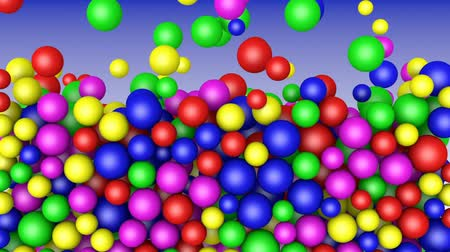Colored balls fall down against a blue background. 3d rendering.