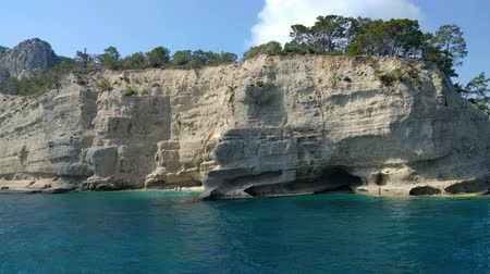 View from the sea to the cave of Beldibi in Turkey