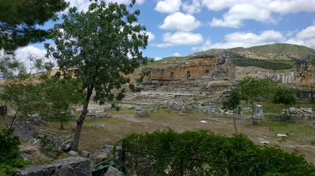 View of the ruins of Heropolis near Pamukkale. Stock Footage