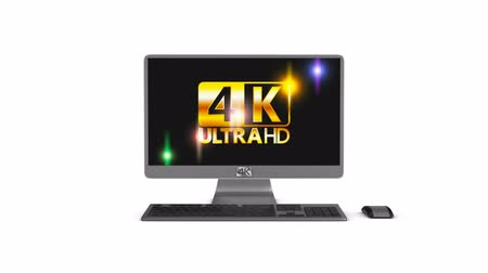4k monoblock monitor with keyboard and mouse, on white background. 3d rendering.