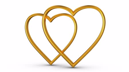 формы сердца : Golden hearts on a white background. 3D rendering