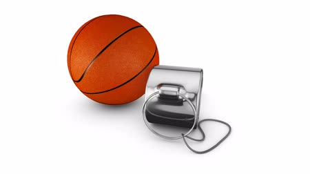 Referee whistle and a basketball. 3d rendering.