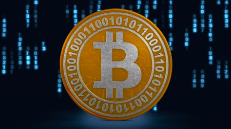 Coin bitcoin on the background of binary code. 3d rendering.