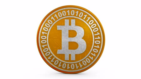 Coin bitcoin on a white background. 3d rendering.