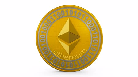Coin ethereum on a white background. 3d rendering.