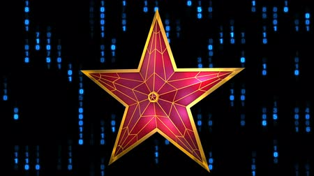 Red star on the background of binary code. 3d rendering.