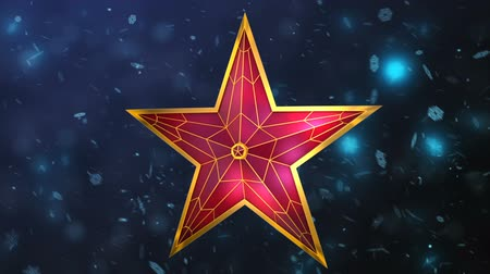 снежинки : Red star on a background of snowflakes. 3d rendering.