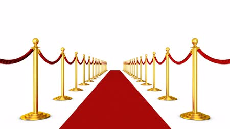 Red carpet and pillars with red ropes on a white background. 3d render.
