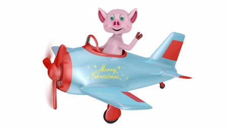 Piglet in an airplane with an inscription Merry Christmas on a white background.