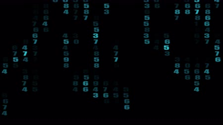 The flow of numbers down in the matrix against the dark background. 3d rendering. Vídeos