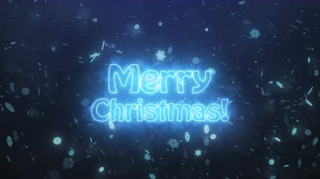 Merry Christmas banner with a smoke on a background of falling snowflakes. 3d render. Vídeos