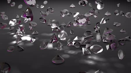 facets : Falling diamonds on a dark background. 3d rendering.