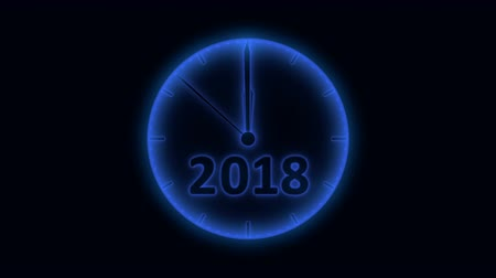 Movement of the second hand on the clock with the figure 2018-2019, dark blue toning. 3d rendering.