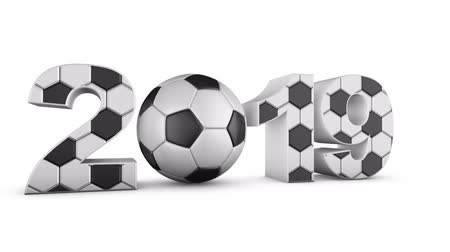 soccer ball and volumetric inscription 2019. alpha channel. 3d render.