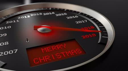 The speedometer indicates 2019 and the screen: Merry Christmas. 3d render
