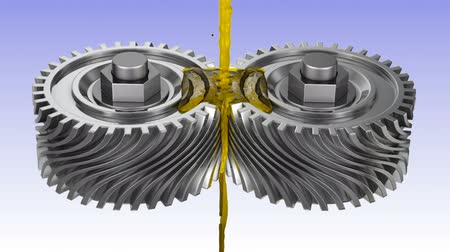graxa : Mineral oil is poured on the rotating gears. 3d render.
