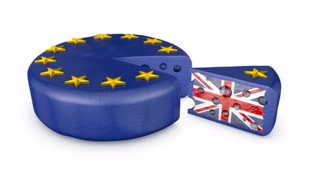 separado : Head of cheese EU with flag of the UK. 3d render.