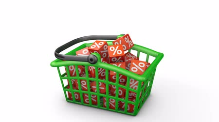 Green shopping basket in which there are red cubes with percentages. 3d render