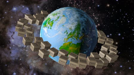 Planet earth around which revolve the box that says free shipping. 3d rendering. Elements of this image are furnished by NASA Stock Footage