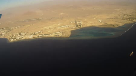 View of Sharm El Sheikh from the window of the plane. Stock Footage