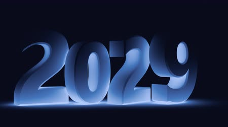beran : Jumping the text 2019 in 2020 in blue tinting. 3d render.