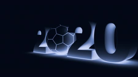 soccer ball and volumetric inscription 2020 in blue tinting. 3d rendering.
