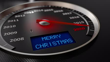 velocímetro : The speedometer indicates 2020 and the screen: Merry Christmas. 3d render