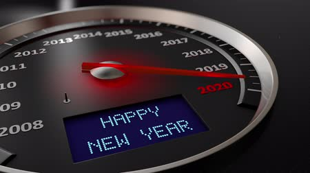 célere : The speedometer indicates 2020 and the screen: Happy New Year. 3d render
